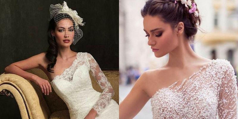 One Shoulder Neckline wedding dress - blank canvas